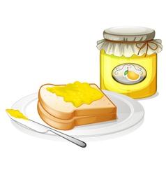 A sandwich with a mango jam vector image vector image