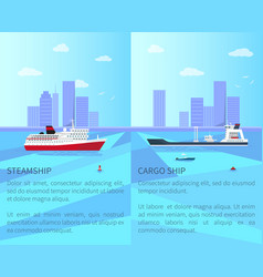 big steamship and spacious cargo ship on water vector image