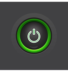 glossy dark circle power button vector image