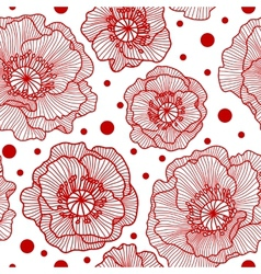 Seamless pattern with red lace poppies vector image