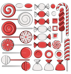 set of color with red candies vector image