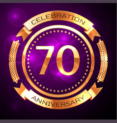 seventy years anniversary celebration with golden vector image vector image