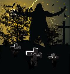 Spooky graveyard halloween background vector image vector image