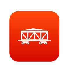 train cargo wagon icon digital red vector image