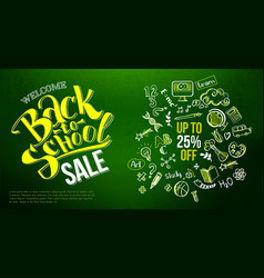 back to school sale icons on chalkboard vector image