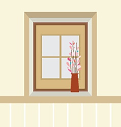 Flowers In Vase On The Windowsill vector image vector image