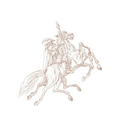 Norse God Odin riding eight-legged horse vector image vector image