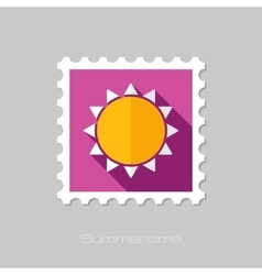 Sun flat stamp with long shadow vector image vector image