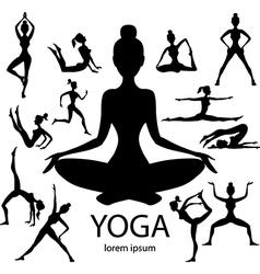 yoga poses silhouettes body pose female vector image