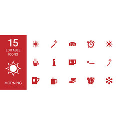 15 morning icons vector