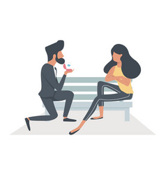 a man proposing a woman sitting bench vector image