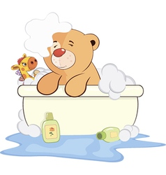 A stuffed toy bear cub in a bath cartoon vector image