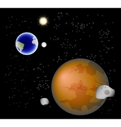 Abstract background with Mars its satellites vector image