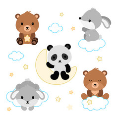 Adorable flat sleeping animals set vector