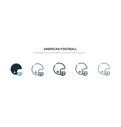 American football player helmet icon in different vector