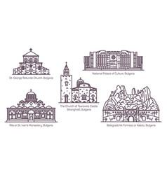 architecture buildings bulgaria in thin line vector image