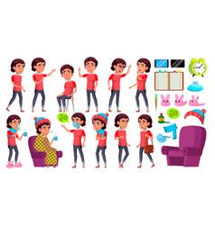 asian girl kid poses set school child vector image