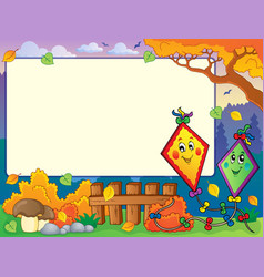 Autumn frame with two kites vector