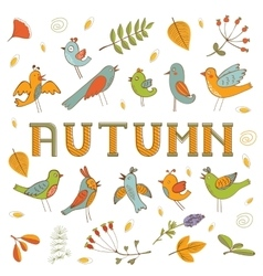 Autumn set with birds flowers and leaves vector