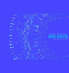 big data circular blue visualization vector image