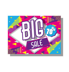 Big sale poster memphis tyle vector