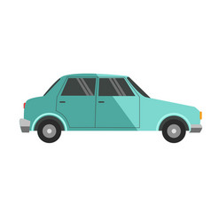 Blue colored small car vector