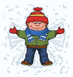 boy angel in snow vector image
