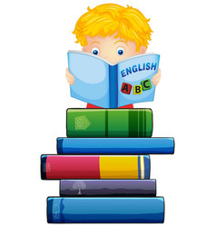 Boy reading a book on white background vector