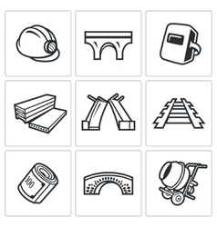 Bridge construction icons set vector