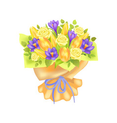 Bunch of spring flowers bouquet rose and peony vector