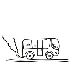 bus doodle public transport with cloud smoke vector image
