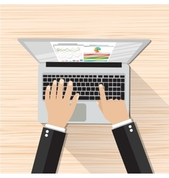 Businessman Hands Working Laptop vector image
