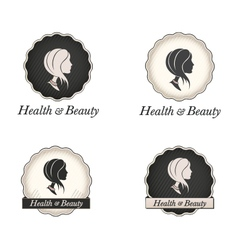 Cameo logo with scallop frame and text vector