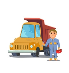 Cartoon mechanic with Truck on white background vector image