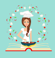 Chef holding recipe cookbook abstract card vector