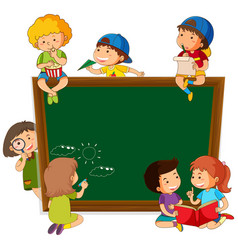 Children on chalkboard template vector
