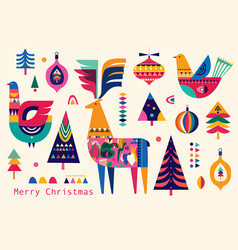 Christmas folk pattern vector