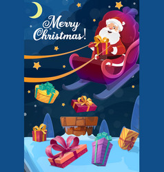 christmas poster santa flying on sleigh with gift vector image