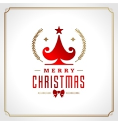 Christmas tree retro typographic and ornament vector image
