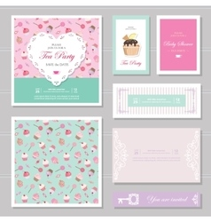 Cute card templates set in pastel colors vector image