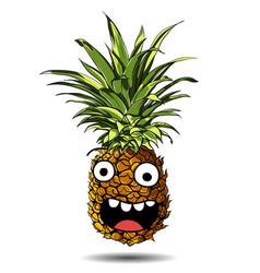 cute fresh pineapple cartoon character emotion fun vector image