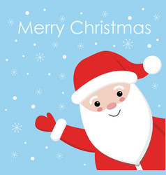 cute santa on snowing design with blue background vector image
