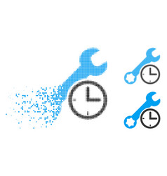 disintegrating dotted halftone service time icon vector image