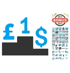 Dollar Pound Competition Icon With 2017 Year Bonus vector image
