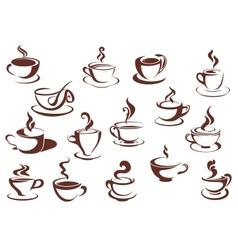 doodle sketch set steaming hot beverages vector image