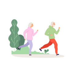 elderly running grandparents park workout happy vector image