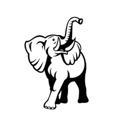 Elephant with long tusk looking up mascot retro vector