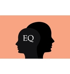 Eq emotional question with silhouette human brain vector