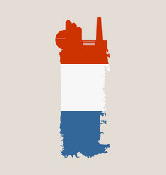 Factory icon and grunge brush netherlands flag vector