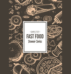fast food cafe menu cover design vector image